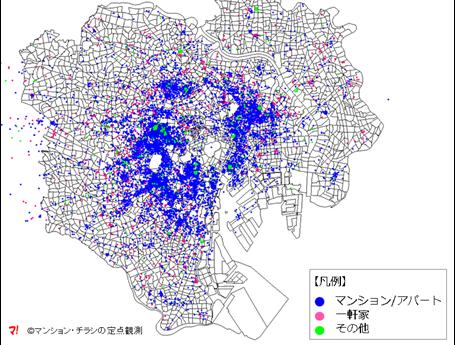 本邦初!23区全域が俯瞰できるAirbnb物件の分布図