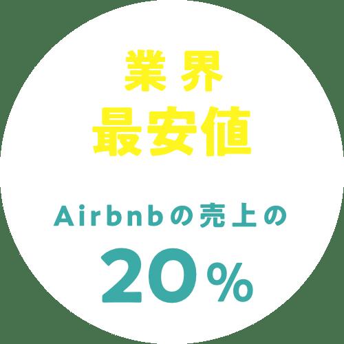 業界最安値|Airbnbの売上の20%